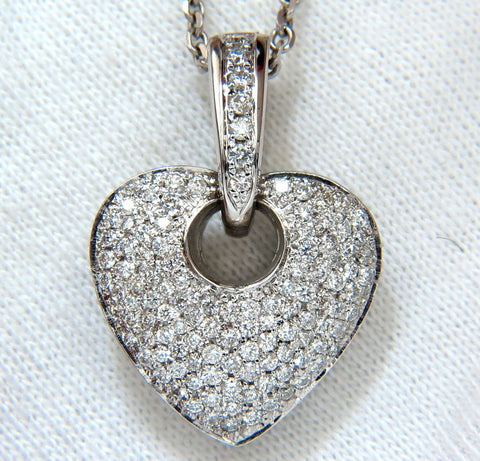1.85CT NATURAL DIAMONDS MODIFIED MOD DANGLE HEART PENDANT BEAD SET 18KT VS
