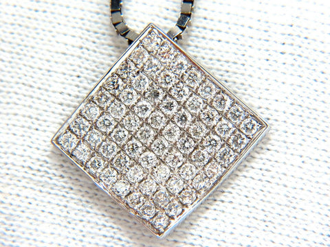 1.40CT DIAMONDS BEAD SET SQUARE ZEN PENDANT 3D CURVE 14KT 16 INCH CHAIN