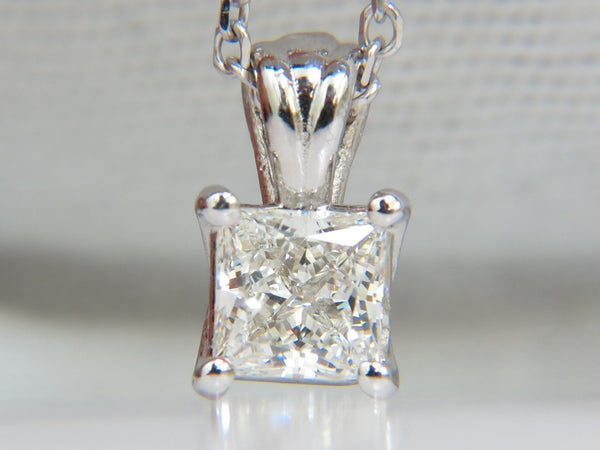 GIA 1.01CT BRILLIANT PRINCESS CUT DIAMOND SOLITAIRE PENDANT H/VVS1 14kt