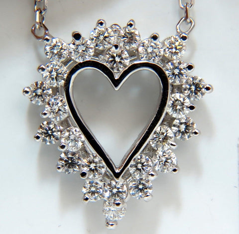 1.78CT BRILLIANT ROUND DIAMONDS OPEN HEART NECKLACE 14KT F/VS BEST OFFER