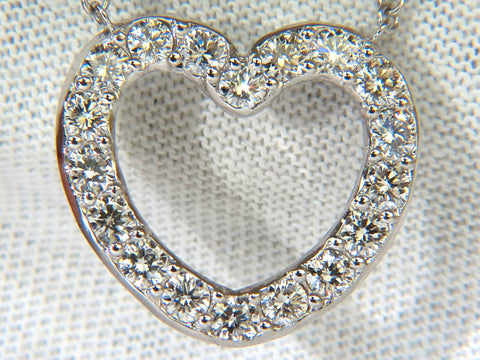 2.50CT SMOOTH EDGED BRILLIANT DIAMONDS HEART PENDANT & CHAIN F/VS 14KT