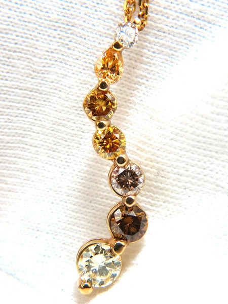 2.06CT NATURAL FANCY YELLOW ORANGE BROWN LIGHT PINK DIAMOND PENDANT CHAIN