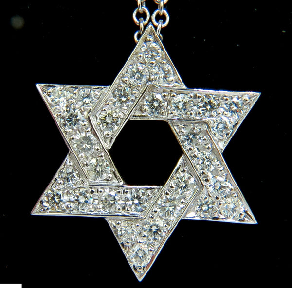 3.01CT ROUND DIAMOND STAR PENDANT BEAD SET 14KT G VS + CHAIN