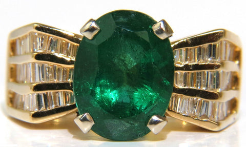 NATURAL 6.10CT NATURAL EMERALD DIAMOND RING MOD DECO 3 ROW BAGUETTES A+