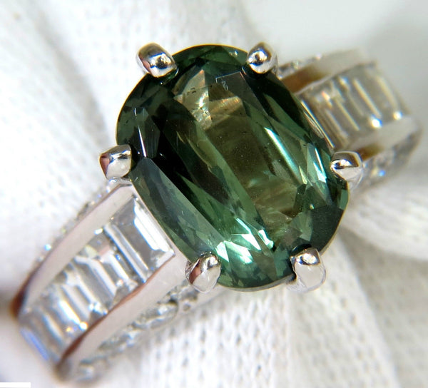 GIA FINE GEM GREEN 7.60CT NATURAL CHRYSOBERYL DIAMOND RING