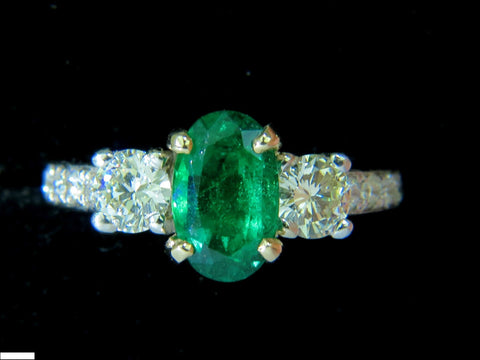 3.05CT NATURAL EMERALD DIAMOND RING ZAMBIA A+