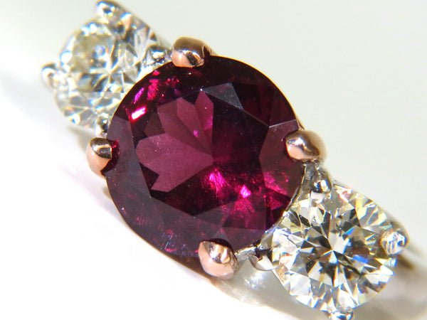7.33CT NATURAL VIVID RED RUBELLITE DIAMONDS RING CLASSIC THREE 14KT