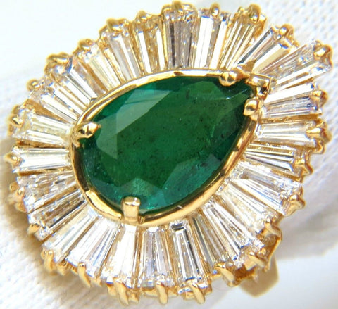 5.35CT NATURAL EMERALD DIAMOND RING BALLERINA COCKTAIL CLUSTER 18KT