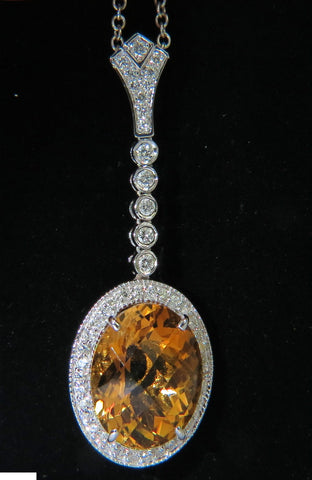 14KT 7.75CT NATURAL CITRINE DIAMOND NECKLACE & DANGLE A