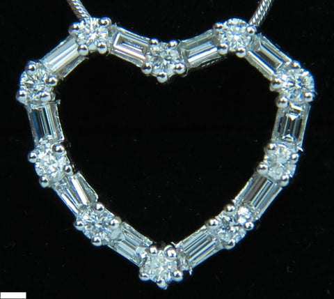 1.10CT DIAMONDS HEART PENDANT 14kt G VS 19'' 20X18MM