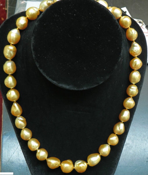 18KT 16.6M NATURAL SOUTH SEA GOLDEN PEARLS NECKLACE 1.50CT DIAMOND CLASP
