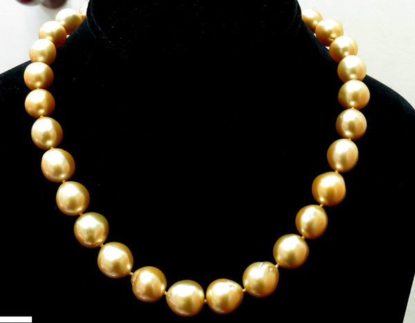18KT 13M NATURAL SOUTH SEA YELLOW PEARLS NECKLACE .50CT DIAMOND CLASP