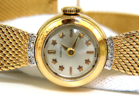 ESTATE PETITE 18KT GUEBLIN SWISS LADIES GOLD WATCH MESH & STAR BAR DIAL