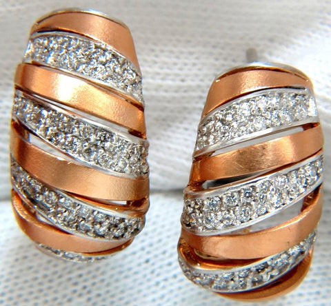 1.00CT NATURAL DIAMONDS HOOP EARRINGS 14KT G/VS 3D SLANT STRIPED ROSE GOLD