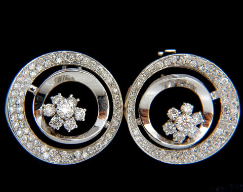 1.30CT DIAMONDS FLOWER CLUSTER CIRCLE EARRINGS 14KT G/VS 3D RAISED DECO