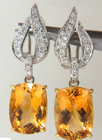 26.50CT NATURAL GOLDEN CITRINE DIAMOND DANGLE EARRINGS 14KT