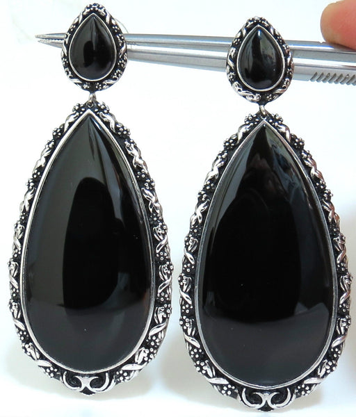 18KT GOTHIC REVIVAL GILT DECO NATURAL JET BLACK ONYX DANGLE EARRINGS