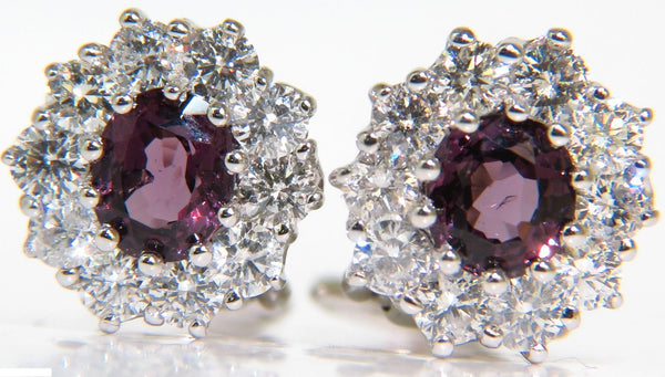 14KT 3.36CT NATURAL PURPLE SPINEL DIAMOND CLUSTER EARRINGS & OMEGA