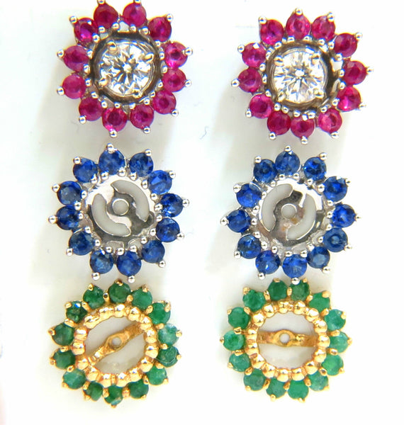 4 06ct Diamond Studs Amp Jackets Emerald Ruby Sapphire 14kt