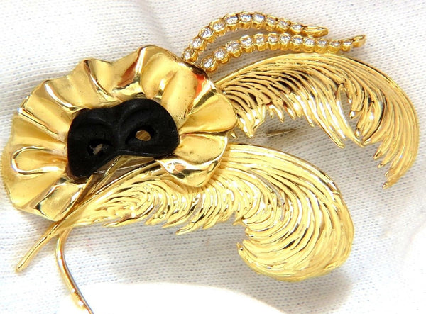 18KT SIGNED 1.00ct. DIAMONDS THEATER EYE MASK FEATHER PEACOCK DECO BROOCH 2+INCH
