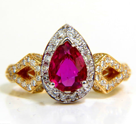 GIA NO HEAT 2.40CT NATURAL RUBY DIAMOND RING CLASSIC SET UNHEATED BLOOD