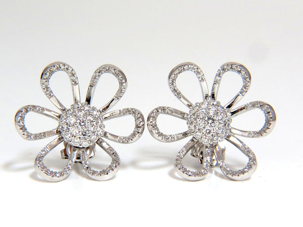 2.00CT 18KT 3D RAISED PETAL CLUSTER DOME FLOWER DECO DIAMONDS EARRINGS