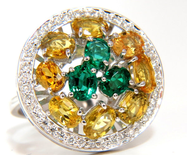 5.62CT NATURAL FANCY YELLOW SAPPHIRES VIVID GREEN EMERALDS CLUSTER RING