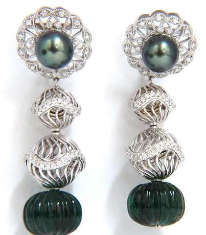 46CT NATURAL EMERALD DIAMOND PEACOCK TAHITIAN PEARL DANGLING EARRINGS 18K