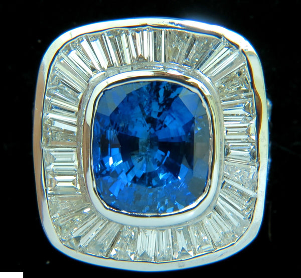 GIA 12.52CT 18KT NATURAL SAPPHIRE DIAMOND BAGUETTE DECO CLUSTER  RING