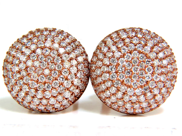 5.50CT DIAMONDS CLUSTER DOMED BEAD SET BUTTON PUFFED CLIP EARRINGS G/VS