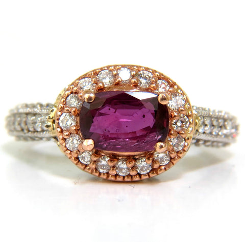 2.78CT NATURAL FINE PURPLE RED RUBY DIAMOND RING 14KT G/VS