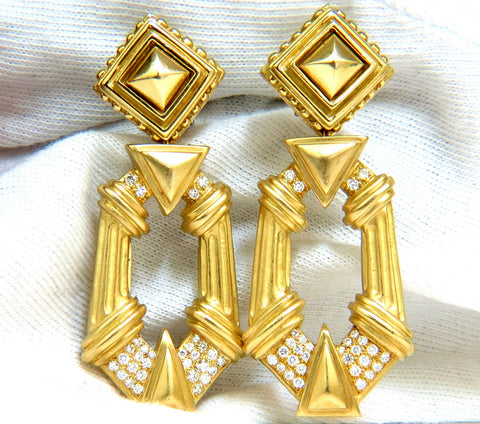 ESTI FREDERICA DESIGNER 18KT BYZANTINE DIAMONDS DOOR KNOCKER EARRINGS