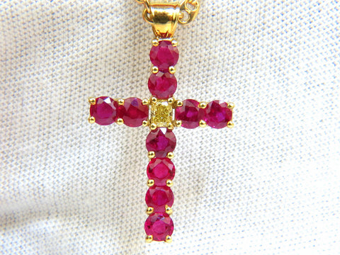 5.07CT BRILLIANT NATURAL FANCY YELLOW BLOOD RUBY DIAMOND CROSS PENDANT