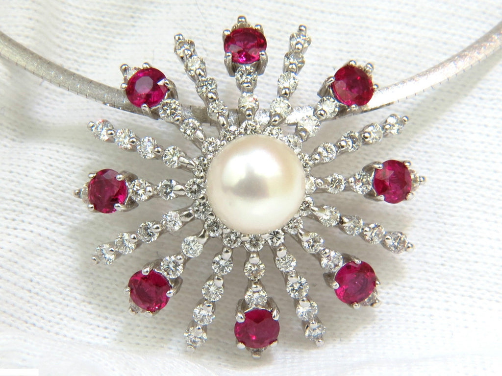Fantastic 5.75CT NATURAL GEM RUBY DIAMOND 3D STAR BURST PEARL PENDANT +  WZ79
