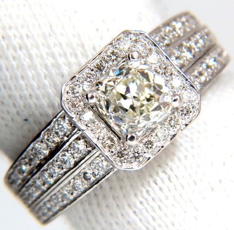 GIA 2.22ct NATURAL CUSHION CUT DIAMONDS RING 14KT K/Si RAISED SQUARE