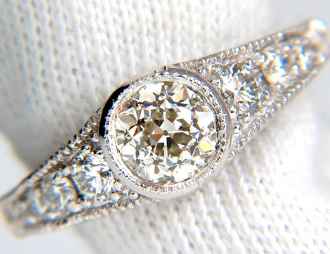1.85CT NATURAL EUROPEAN CUT FLUSH MOUNT DIAMOND RING 14KT I/VS