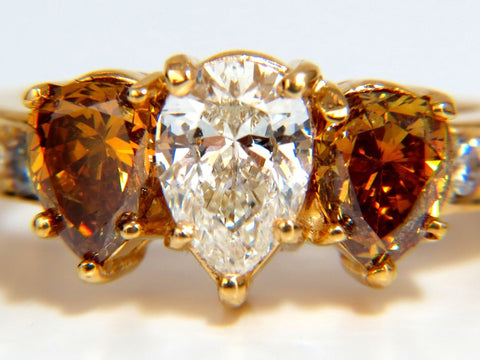 2.90CT NATURAL FANCY VIVID YELLOW BROWNISH DIAMOND PEAR SHAPE RING 18KT