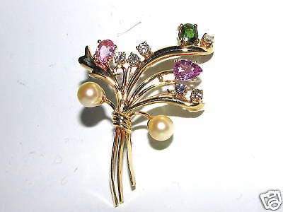 4.70ct. SAPPHIRES PEARLS & DIAMOND BROOCH 14KT RARE