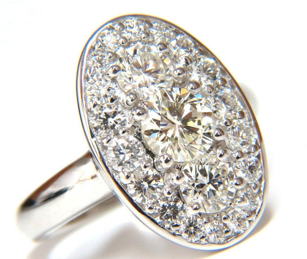 1.96CT CLUSTER DIAMONDS ELONGATED OVAL 18KT RING COCKTAIL