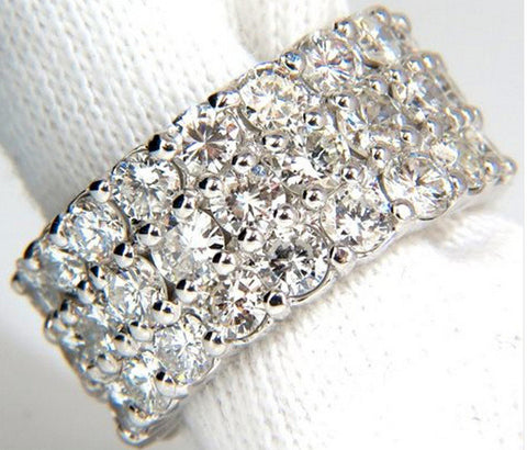 10.00ct Three Rowed, Sharing prong natural round diamonds eternity band
