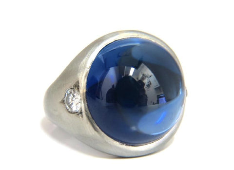30.50ct Lab Sapphire diamonds mens ring vivid blue 14kt