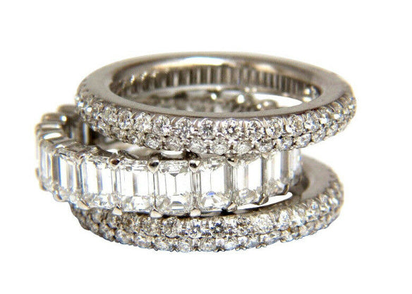 10.63ct Natural Round Baguette Diamond Rings Stacking 3 Revolver Platinum 14kt