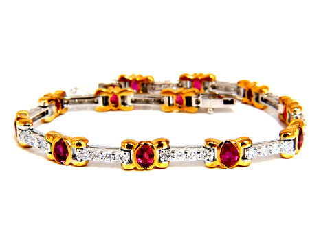 3.76ct natural ruby diamonds tennis bracelet 14kt vivid red