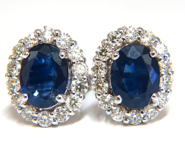 3.50ct Natural Blue Sapphires & 1.00ct diamond earrings 14kt