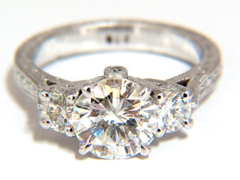 1.92ct Round Diamond & .50ct diamonds Platinum ring