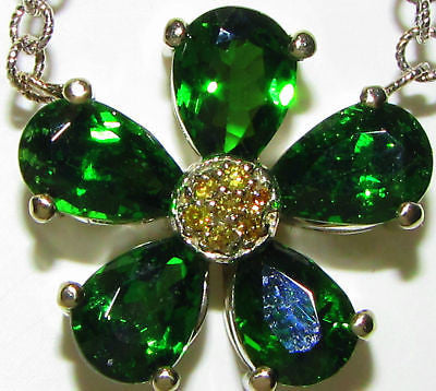 4.60CT NATURAL TSAVORITE YELLOW DIAMOND PENDANT