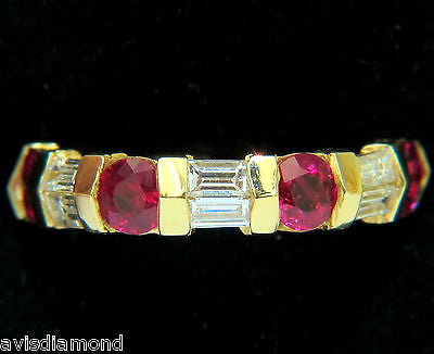 PETITE NATURAL 2.50ct. FINE GEM RUBY DIAMOND ETERNITY BAND 18KT H/VS