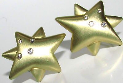 UNKOWN DESIGNER 18KT .50CT DIAMONDS STAR CLIP EARRINGS HEAVY