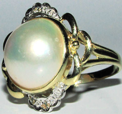 ESTATE DIAMONDS MABE PEARL COCKTAIL RING 14KT