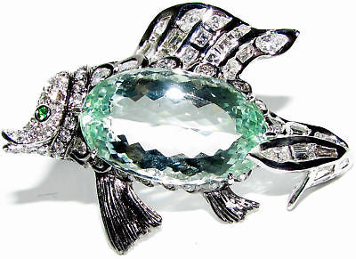 GIA 57.37CT NATURAL GREEN BERYL FISH BROOCH PENDANT
